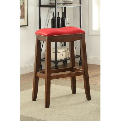 Delta 30 Bar Stool with Cushion Upholstery Color: Red