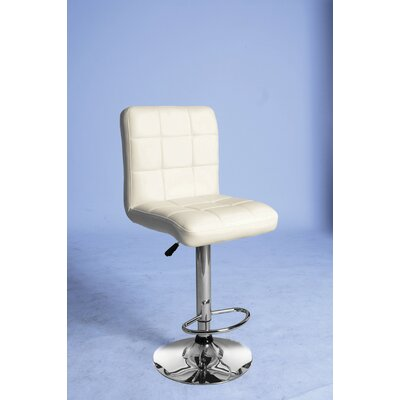 Gaylord Adjustable Height Swivel Bar Stool Upholstery Color: Cream