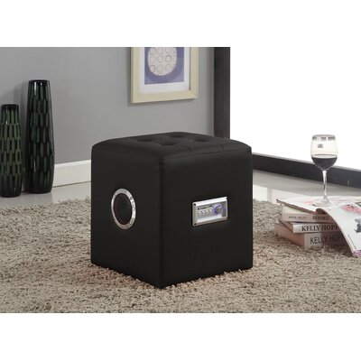 Laila Sound Cube Ottoman Upholstery Color: Black
