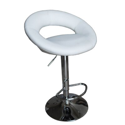 Sybill Adjustable Height Swivel Bar Stool Upholstery Color: White