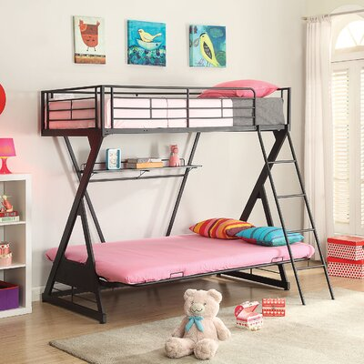 Zazie Futon Bunk Bed with Bookshelf