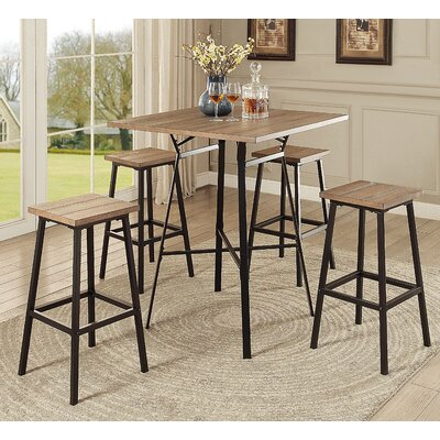 Dora 5 Piece Pub Table Set Color: Gray Oak
