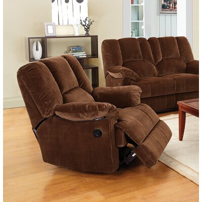 Oliver Manual Glider Recliner Upholstery: Chocolate