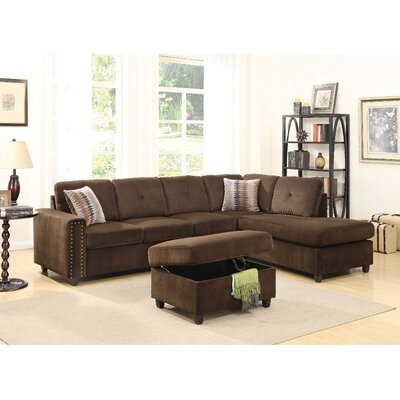 Belville Reversible Sectional Upholstery: Chocolate