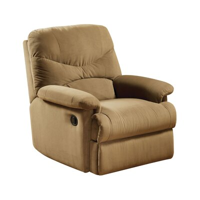 Arcadia Glider Recliner Upholstery: Light Brown
