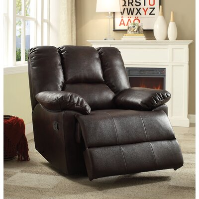 Oliver Manual Glider Recliner Upholstery: Dark Brown