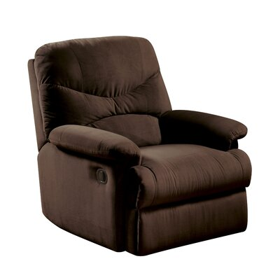 Arcadia Manual Glider Recliner Upholstery: Chocolate