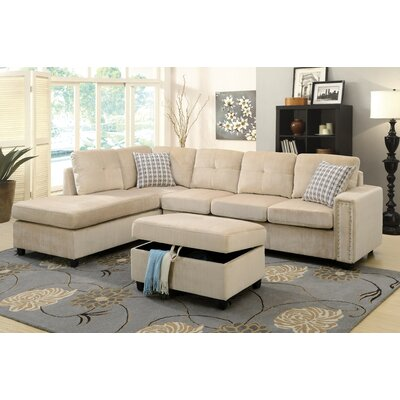 Belville Reversible Chaise Sectional Upholstery: Beige