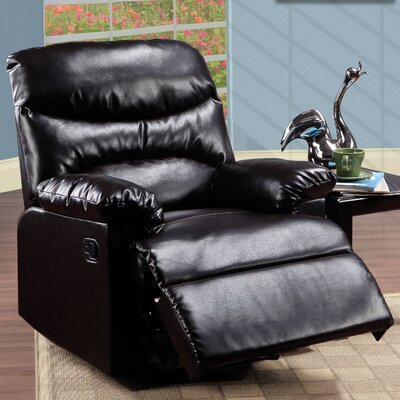 Chaise Manual Recliner Upholstery: Bonded Leather - Brown