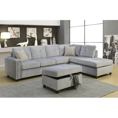Belville Reversible Sectional Upholstery: Gray