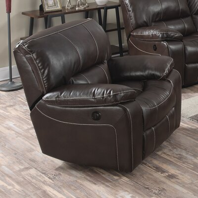 Kimberly Power Recliner Upholstery: Brown