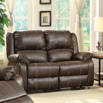 Zuriel Reclining Loveseat Upholstery: Brown