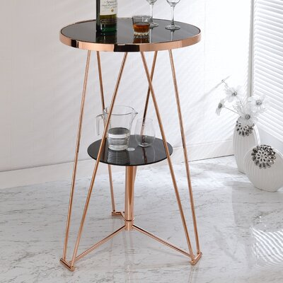 Jarvis Pub Table Finish: Black/Rose Gold