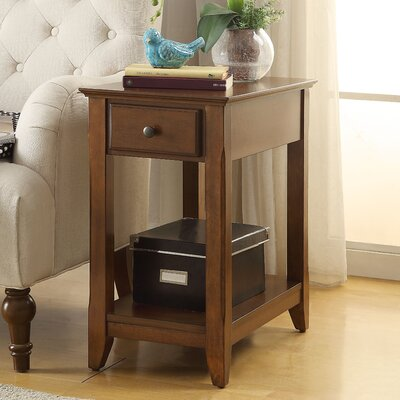 Hillyard End Table With Storage Color: Walnut