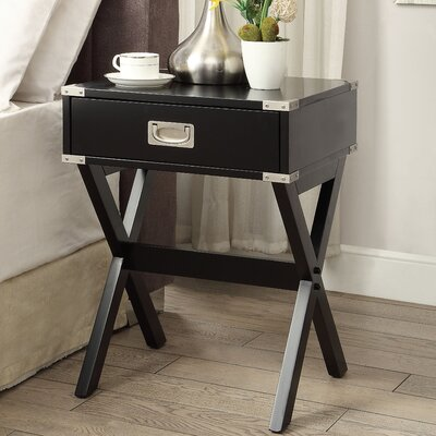 Babs End Table With Storage Color: Black