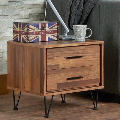 Deoss 2 Drawer Nightstand Finish: Walnut