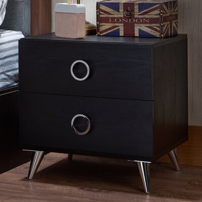 Elms 2 Drawer Nightstand Color: Black