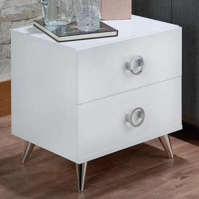 Elms 2 Drawer Nightstand Color: White