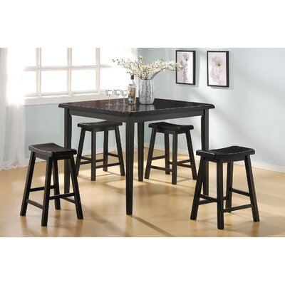 Gaucho 5 Piece Counter Height Dining Set Finish: Black