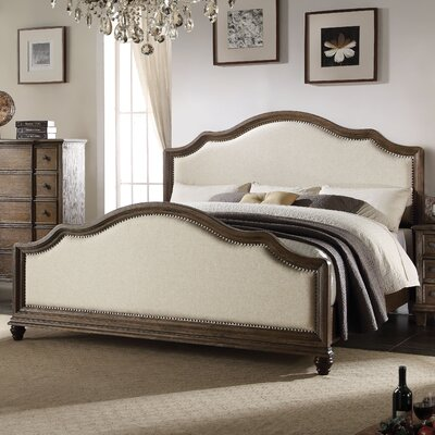Baudouin Weathered Oak and Linen Upholstered Panel Bed Size: Queen