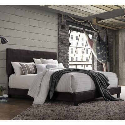 Lien PU Upholstered Panel Bed Upholstery: Espresso, Size: Twin