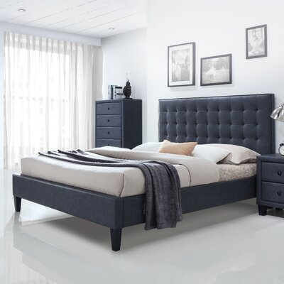 Saveria PU Upholstered Platform Bed Size: Queen