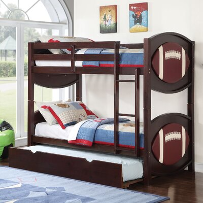 All Star Football Over Twin Bunk Bed with Trundle