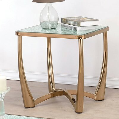 Orlando Crackle Mirror End Table