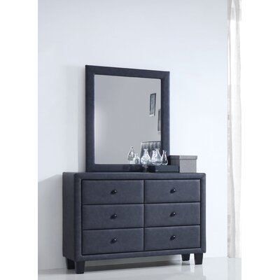 Saveria 6 Drawer Standard Dresser with Mirror