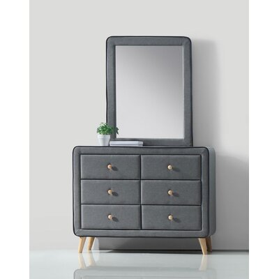 Valda 6 Drawer Standard Chest with Mirror