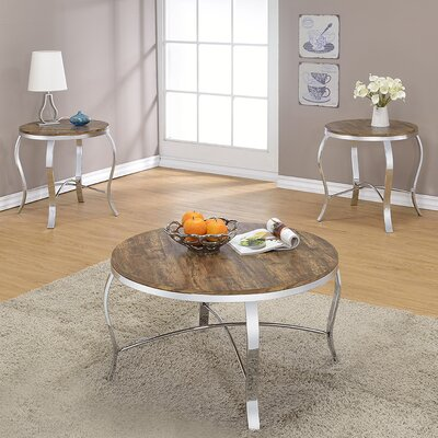 Malai Weathered 3 Piece Coffee Table Set Color: Dark Oak
