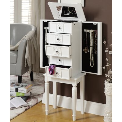 Tammy Jewelry Armoire with Mirror Color: White