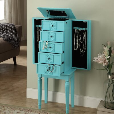 Tammy Jewelry Armoire with Mirror Finish: Light Blue
