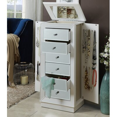 Talor Jewelry Armoire with Mirror Color: White