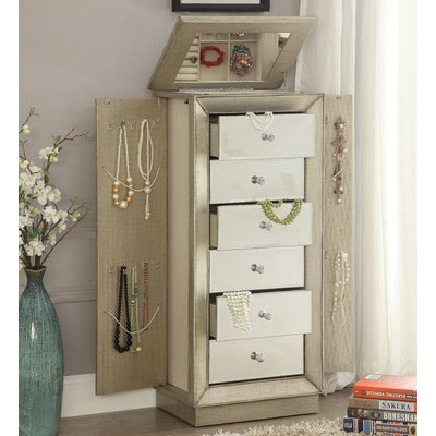 Talor Jewelry Armoire with Mirror Color: Gold