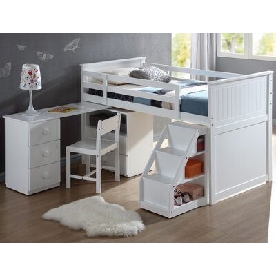 Wyatt Twin Loft Bed with Chest and Swivel Desk and Ladder