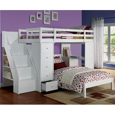 Freya Loft Bed with Bookshelf Ladder