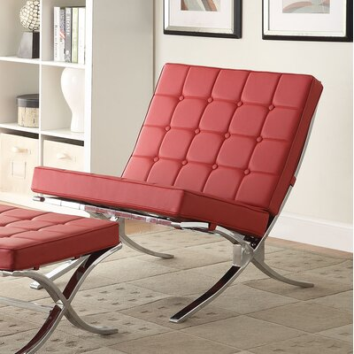 Elian Lounge Chair Upholstery: Red