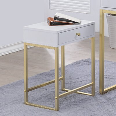 Dayne Rectangle White End Table