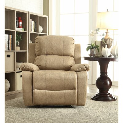 Bina Memory Foam Manual Wall Hugger Recliner Upholstery: Light Brown