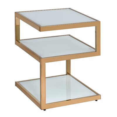 Alyea End Table Color: Frosted Glass/Champagne