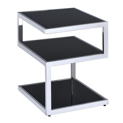 Alyea End Table Color: Black Glass/Chrome