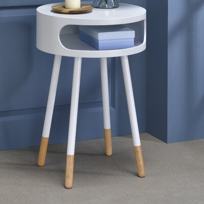 Sonria Round End Table Color: White