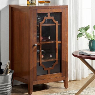 Fina 8 Bottle Floor Wine Cabinet Finish: Walnut