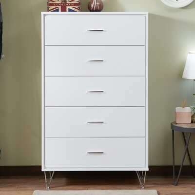 Deoss 5 Drawer Chest Color: White