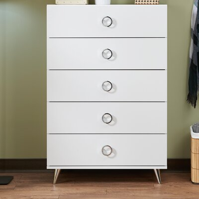 Elms 5 Drawer Chest Color: White