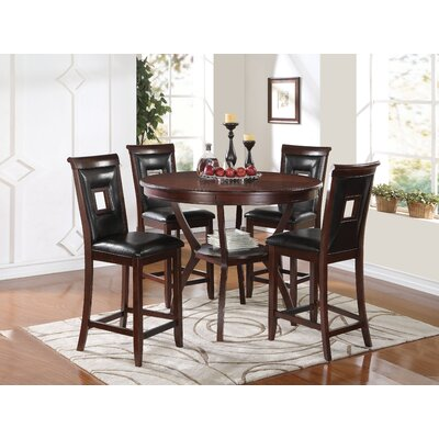 Deherrera 5 Piece Counter Height Dining Set Upholstery Color: Black