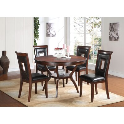 Deherrera 5 Piece Dining Set Upholstery Color: Black