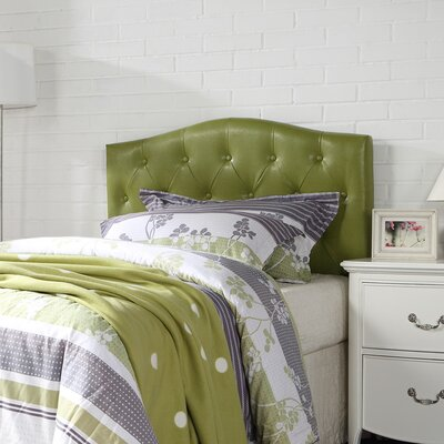 Powell Upholstered Panel Headboard Upholstery: Green