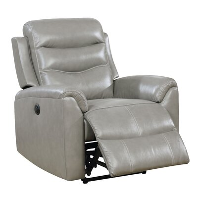 Veedersburg Leather Power Recliner Upholstery: Gray
